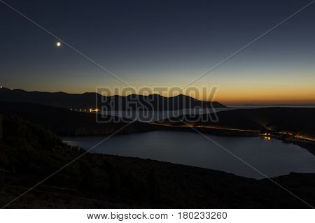Idyllic landscape at dusk in Astypalea island Dodecanese Greece