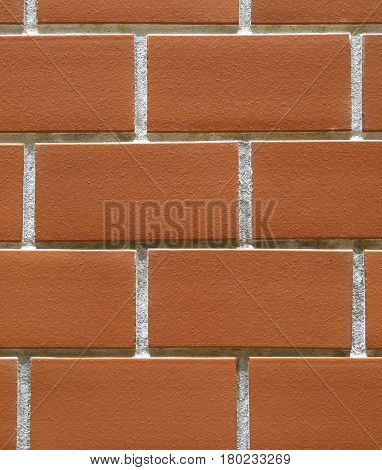 Close-up of Orange Colored Terracotta Bricks Wall, for Background, Texture