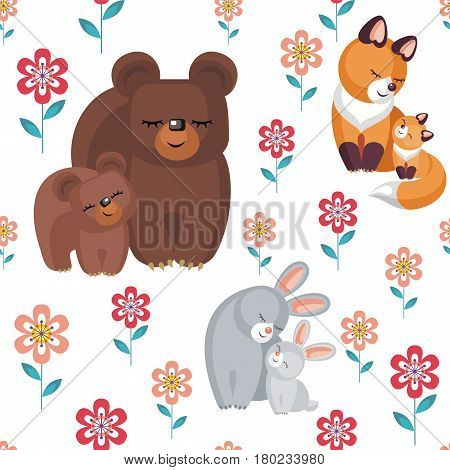 Mother's day seamless pattern. Children's vector background in cartoon style with the image of cute animals and their cubs.