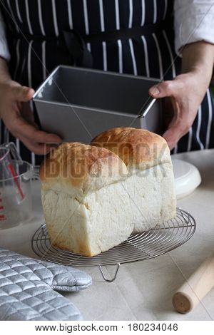 freshly baked homemade white bread