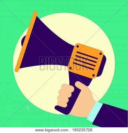 Loudspeaker Vector Illustration. Megaphone Flat Symbol. Loudspeaker In A Flat Style. Concept Of Prom