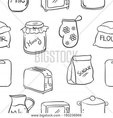 Collection stock of kitchen set hand draw vector art