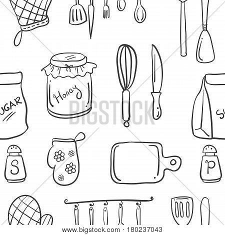 Collection stock kitchen set doodle style vector art