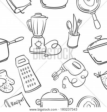 Collection stock kitchen set pattern hand draw illustration