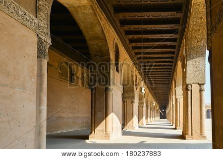 Ibn Tulun Mosque in Cairo, Egypt.  The Mosque is the oldest Mosque in the city and the mosque's original inscription slab identifies the date of completion as 265 AH or 879 AD.