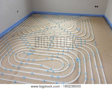 Underfloor heating system in a new construction house