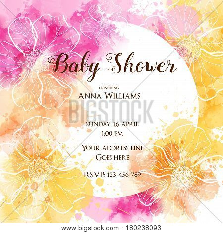 Baby gender reveal concept illustration. Template for baby shower invitation.