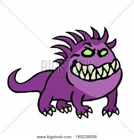 Big dog from hell. Cute monster growls. Vector illustration