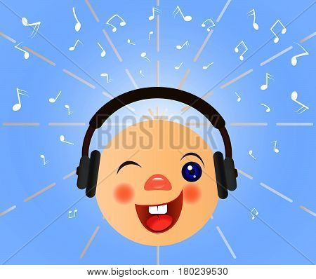 Emoticons icons. Emoji face. Smiley with headphones.Vector musical symbol. Smile emoticon. Music emoticon with headphones vector. Music notes signs. Vector illustration.