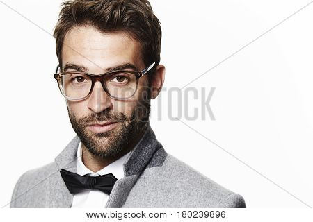 Guy in bow tie and glasses portrait