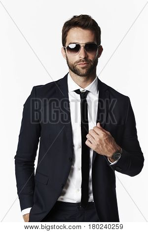 Shirt and tie guy in shades portrait