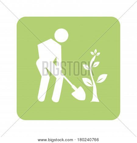 opaque green background with man with shovel and tree vector illustration