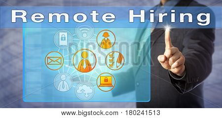 Blue chip recruiting consultant advising on Remote Hiring. Human resources management metaphor and business concept for employing self-motivated virtual workers or talented telecommuters.