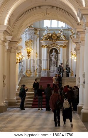 Saint Petersburg, Russia - February 23: State Hermitage Museum, Interior,february 23 2017.