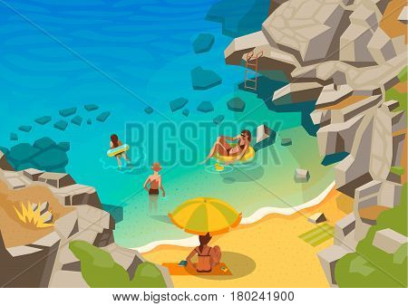 Sea landscape with a beach and swimming people vector illustration
