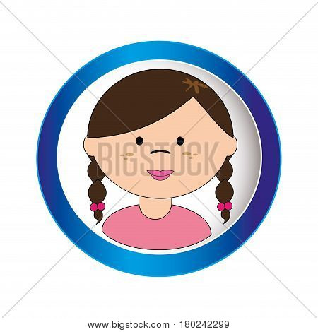 brunette girl face with braided hair in circular frame vector illustration