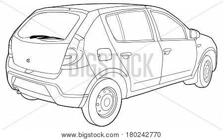 Hand drawn sketch of a modern car vector