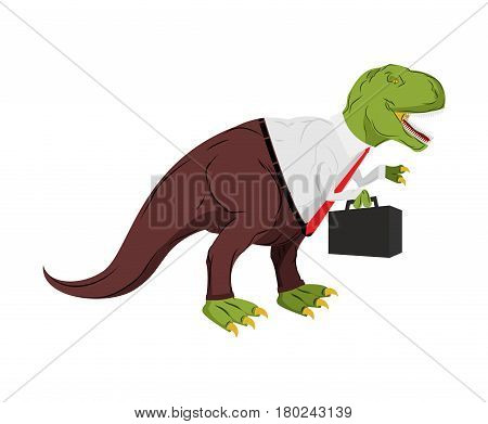 Tyrannosaurus Businessman. Dino Boss. Chief With Case Is Prehistoric Dinosaur. Ancient Lizard In Sui