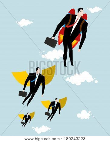Competition Concept. Businessman Jet Pack Is Ahead Of Managers With Wings