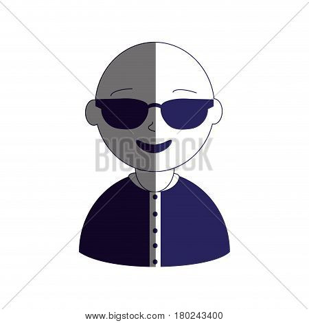 man half body silhouette color with sunglasses and bald vector illustration
