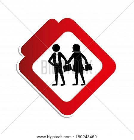silhouette color road sign with pictogram executives man and woman vector illustration