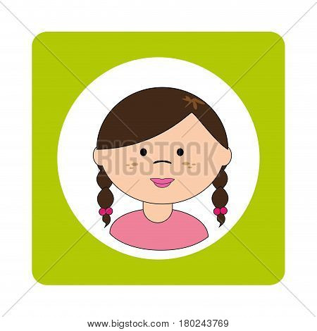 brunette girl face with braided hair in square frame vector illustration