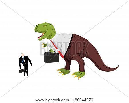 Dinosaur Boss Screaming At Subordinate. Angry Dino Chief With Case. Prehistoric Dinosaur. Ancient Li