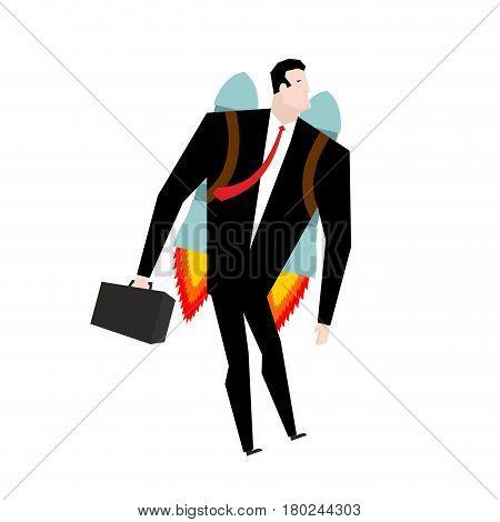 Businessman Jet Pack. Manager Is On Rocket. Business Concept.