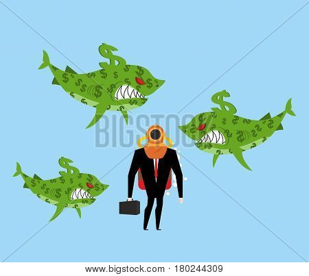 Businessman Among Business Sharks. Dollar Predators. Manager In Deep-water Suit. Business Concept