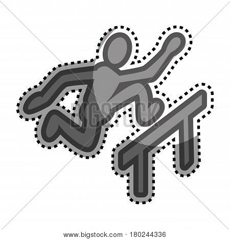 grayscale sticker with pictogram with athlete hurdles vector illustration