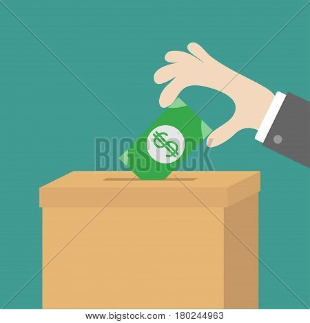 Human hand putting paper money bill with dollar sign into donation paper cardboard box. Helping hands concept. Donate and help. Flat design style. Green background. Vector illustration.
