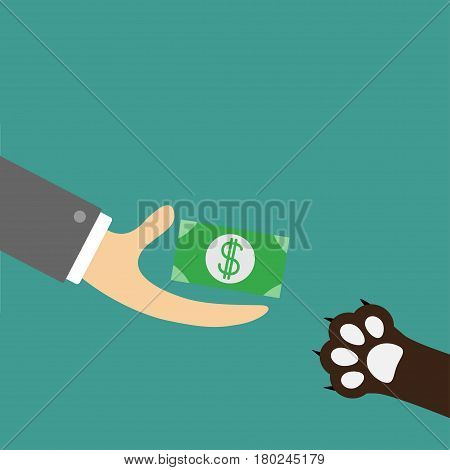 Hand giving paper money cash with dollar sign. Dog cat paw print taking gift. Helping hand concept. Adopt donate help love pet animal. Flat design style. Green background. Vector illustration.
