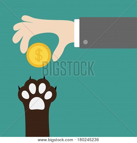 Hand giving golden coin money with dollar sign. Dog cat paw print taking gift. Adopt donate help love pet animal. Helping hand concept. Flat design style. Green background. Vector illustration.