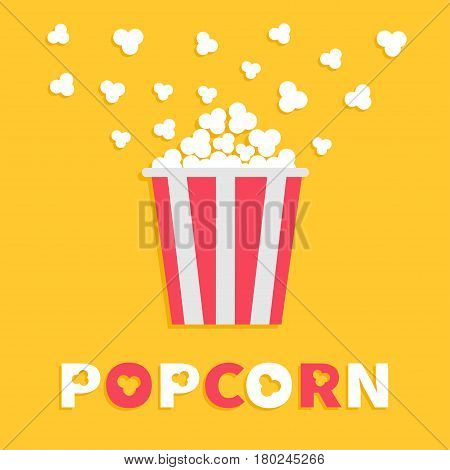 Popcorn popping. Red yellow strip box package. Cinema movie night icon Flat design style. Fast food. Yellow background Red white text. Vector illustration