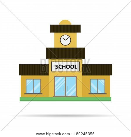 Vector flat school icon. Yellow building with a brown roof and blue windows solated on white background