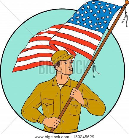 Drawing sketch style illustration of an american soldier serviceman waving holding usa flag looking to the side set inside circle on isolated background.