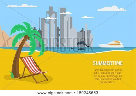 Vector summertime rectangular traveling banner template. Deck chair under palm tree on beach. Yacht in the sea, dolphins, moutains in flat style
