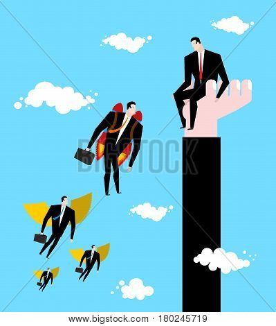 Competition Business Concept. Businessman Jet Pack Is Ahead Of Managers With Wings. Worker Sits On H