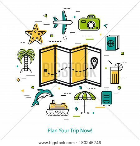 Vector concept of summer vacation planning. Map with place pointer and trip route and beach icons, palm tree, plane, passport, ship and suitcase. Round linear web banner in thin line style