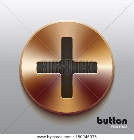 Round plus button with black symbol and brushed bronze texture isolated on gray background