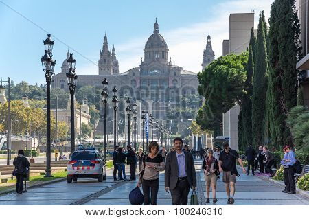 BARCELONA SPAIN - OCTOBER 23 2015: The National Palace was the main site of the 1929 International Exhibition on the hill of Montjuic in Barcelona. Since 1934 it has been home to the National Art Museum of Catalonia Spain