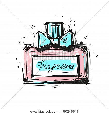 Perfume bottle vector illustration. Eau de parfum. Eau de toilette. Vector stock art