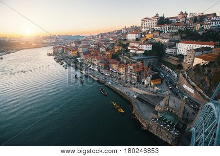 View of Douro river from Dom Luis I bridge, Porto, Portugal.