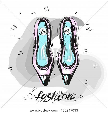 Modern trendy shoes sketch fashion illustration hand drawn stock art