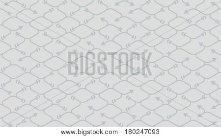 Isometric seamless pattern. Net broken digital vector gray background. Rope texture with different endings of undone seamless lines with arrow.