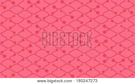 Isometric seamless pattern. Net broken digital pink color vector background. Rope texture with different endings of undone seamless lines with square.
