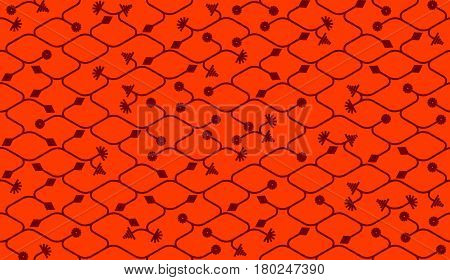 Isometric seamless pattern. Net broken digital red color vector background. Rope texture with different endings of undone seamless lines.