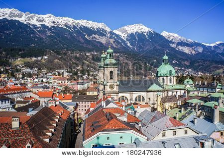 View of the city of Innsbruck from the roof. Austria