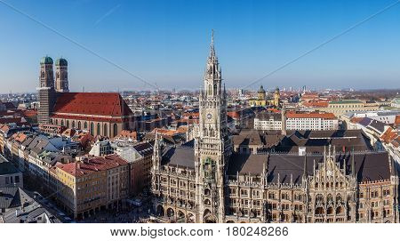 Panorama view of Munich city center showing the City Hall and the Frauenkirche, Germany