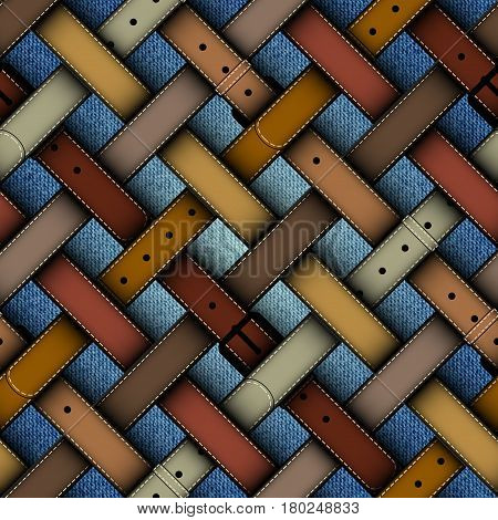 Seamless background pattern. Diagonal plaid pattern with a belts on a denim background.